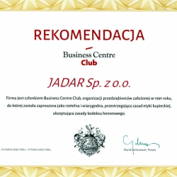 Jadar członkiem Business Centre Club