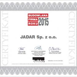 JADAR Sp. z o.o. BUDOWLANĄ FIRMĄ ROKU 2015!