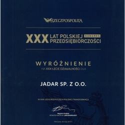 """JADAR wyróżniony na kongresie """"XXX lat polskiej przedsiębiorczości"""""""