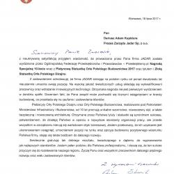 Gratulacje od Marszałka Województwa Mazowieckiego